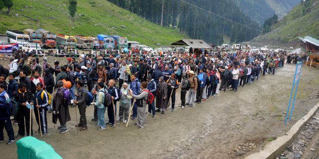 Hindu pilgrims on their way to the Amarnath cave during the first phase of annual Amarnath Yatra.