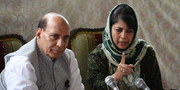 Chief minister of Jammu and Kashmir, Mehbooba Mufti (R) addresses a joint press conference with Indian...
