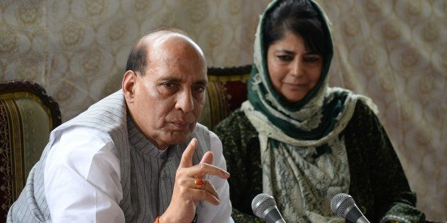 Indian home minister Rajnath Singh addresses a joint press conference with chief minister of Jammu and...