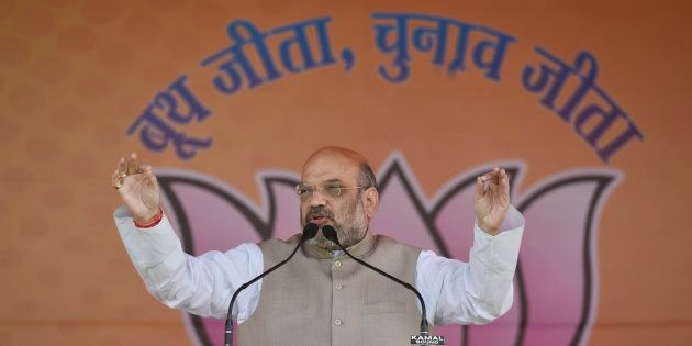 BJP National President Amit Shah speaks during the Panch Parmeshwaar Booth Sammelan for the MCD election...