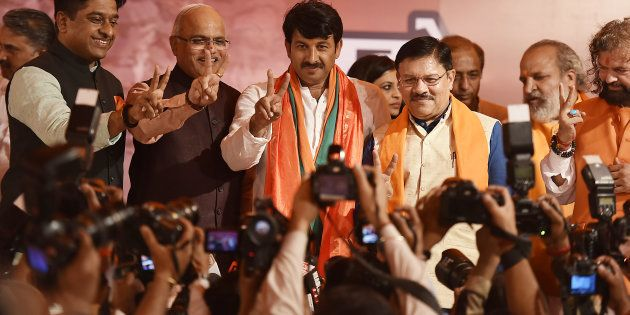 Delhi BJP President Manoj Tiwari during a press conference at Delhi BJP Office after party's victory...