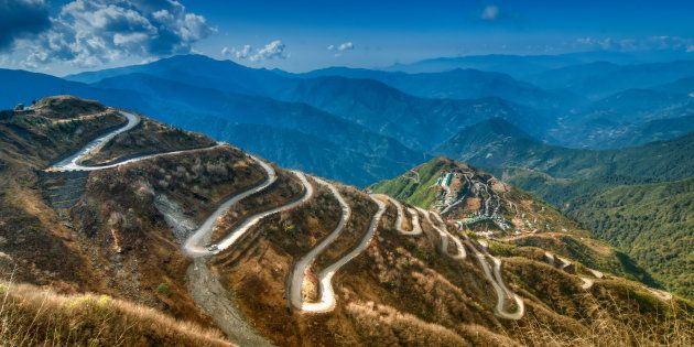 Beautiful Curvy roads on Old Silk Route, Silk trading route between China and India,