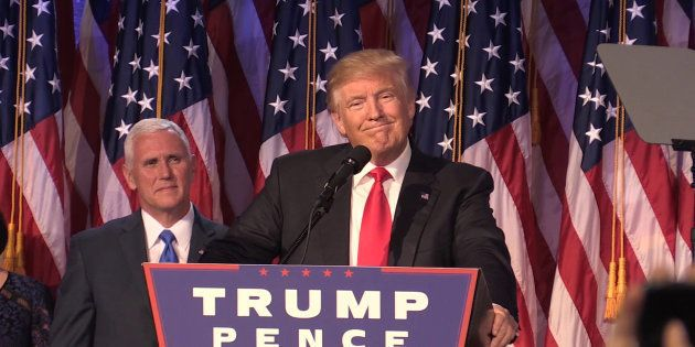 Donald Trump as he makes his acceptance speech in New York following his victory to become he 45th president...
