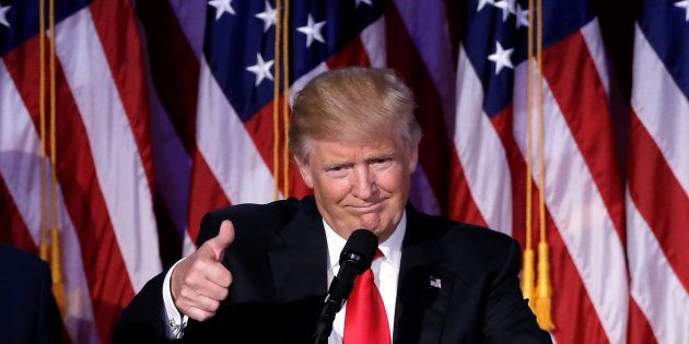 U.S. President-elect Donald Trump gestures as he speaks at election night rally in Manhattan, New York,...