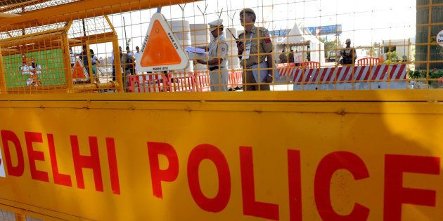 A police barrier in New Delhi,