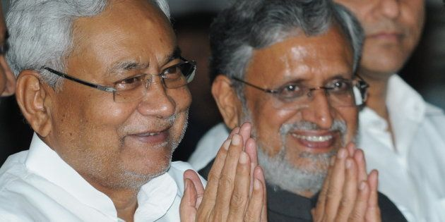 Bihar Chief Minister Nitish Kumar with Deputy Chief Minister Shushil Mody at Oath ceremony of Ministers...