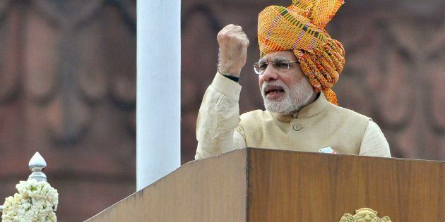 Prime Minister Narendra Modi addresses the nation from the rampart of historical Red Fort on the occasion...
