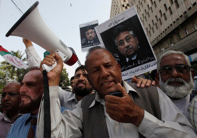 Supporters of former President Pervez Musharraf, head of the All Pakistan Muslim League (APML) political...