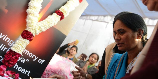 Nirbhaya's mother Asha Devi during floral tribute to 'Nirbhaya' on the occasion of 'Nirbhaya Chetna Diwas'...