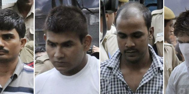 This combination of images created on September 24, 2013, shows convicted Indian prisoners (L/R): Akshay...