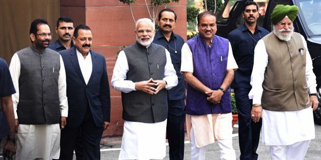 Prime Minster Narendra Modi with Parliament Affairs Minister Anant Kumar, Minister of State for Parliamentary...