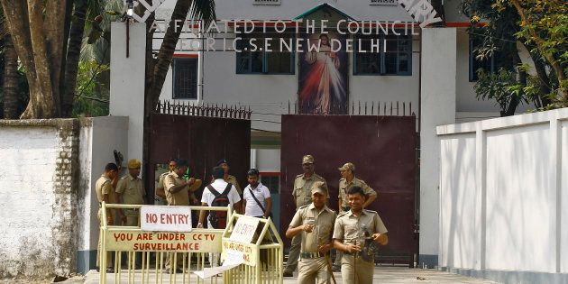 A file photo of police outside the Convent of Jesus and Mary school in Ranaghat in West