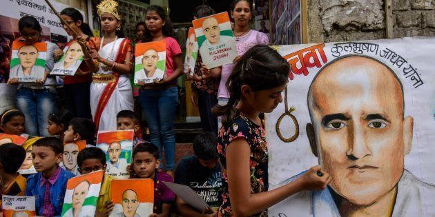 Photo of Kulbhushan Yadav by Gurukul students of art seen as part of a protest against his death sentence...