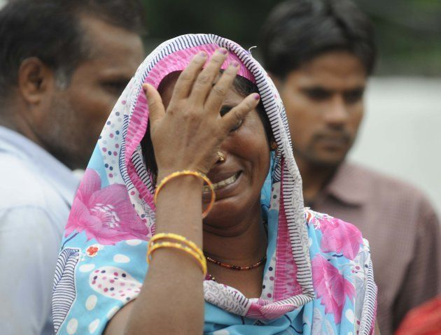 A lady mourns the death of a child at BRD medical college, around 70 children have died for various reasons...