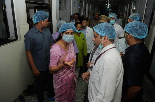 Union Minister Anupriya Patel at BRD medical college, around 70 children have died for various reasons...