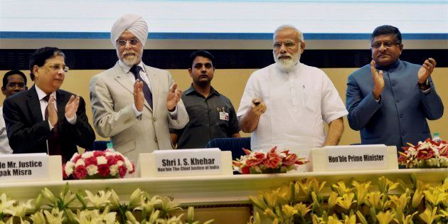 PM Narendra Modi launching the Supreme Court's integrated case management system in New Delhi on 10 May...
