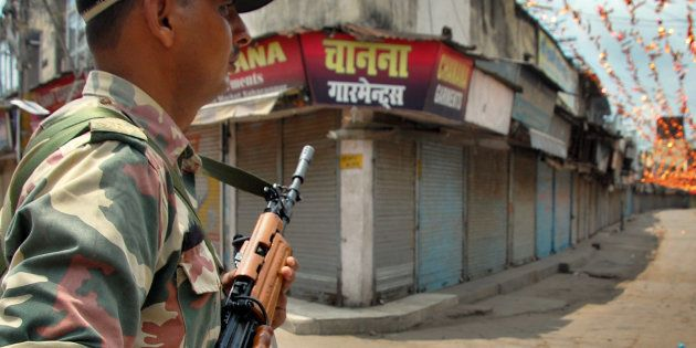 REPRESENTATIVE IMAGE: Security Personnel guards during the curfew after clash between two communities...