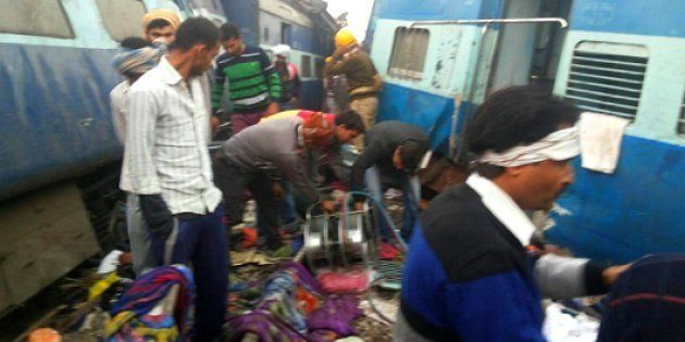 Rescue operations underway after 14 coaches of Patna-Indore express derailed near Pukharayan around 3...