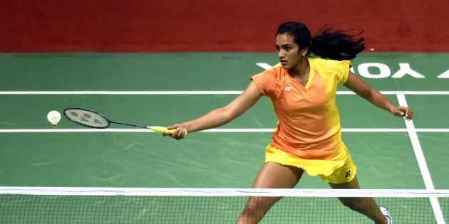 PV Sindhu action against Bae Yeon JU of Korea during the India Open Badminton quarter