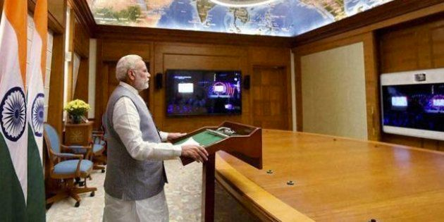 Prime Minister Narendra Modi addresses the Global Citizens Festival in Mumbai, via video