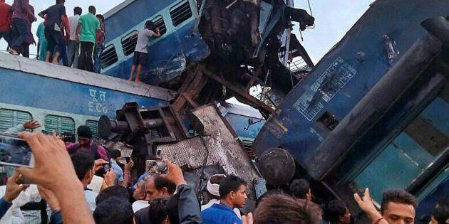 Muzaffarnagar: Coaches of the Puri-Haridwar Utkal Express after it derailed in Khatauli near Muzaffarnagar...