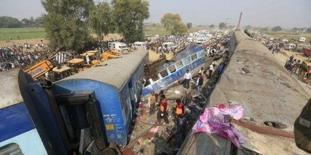 LUCKNOW, INDIA - NOVEMBER 20: A view of a Patna-Indore Express derailed train near Kanpur, Uttar Pradesh,...