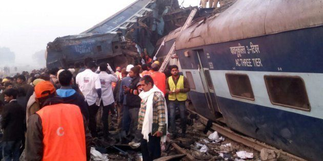 ALLAHABAD, UTTAR PRADESH, INDIA - 2016/11/20: Rescue officials on the spot where 14 coaches of the Indore-Patna...