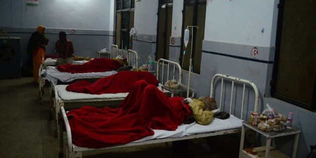 Victims of Indore-Patna Express train accident admitted in district hospital, some 60 kms from Kanpur,...