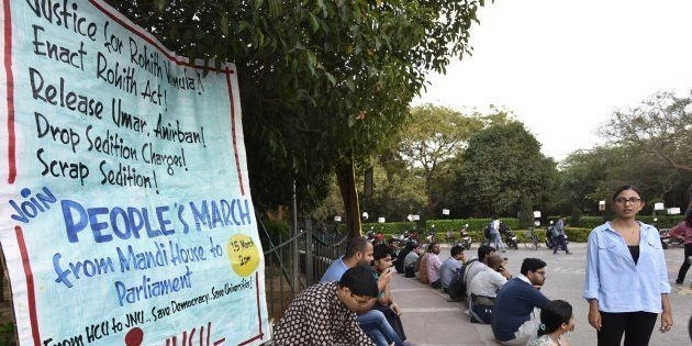 JNU students during a protest against the arrest of JNU students at JNU