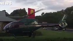 Helicopter Lands At Maccas, Because Rich People Need To Eat