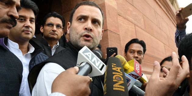 Congress Vice President Rahul Gandhi at Parliament on November 21, 2016 in New Delhi, India. (Photo by...
