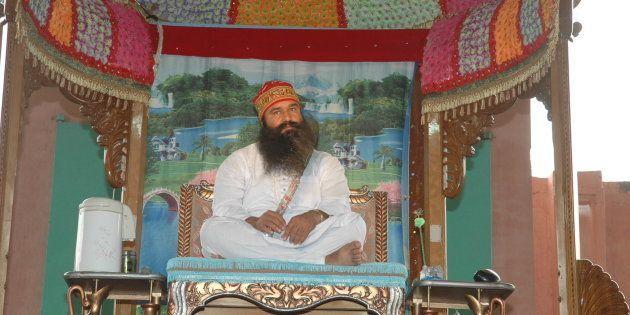 File photo of Baba Gurmeet Ram Rahim Singh, Head of the Dera Sacha Sauda in Sirsa, Haryana, India (Photo...