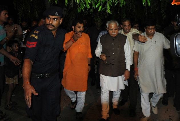 Haryana Chief Minister Manohar Lal Khattar visit Panchkula after clash of Dera Followers on August 25,...