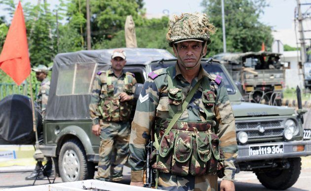 CHANDIGARH, INDIA - AUGUST 26: Army deployed after the clash between dera followers and security force...