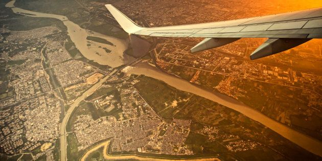 high angle view of New Delhi city of India on the air