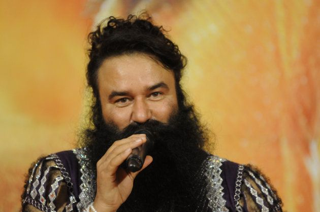 Head of Dera Sacha Sauda sect Gurmeet Ram Rahim Singh addressing the media during the premiere of his...