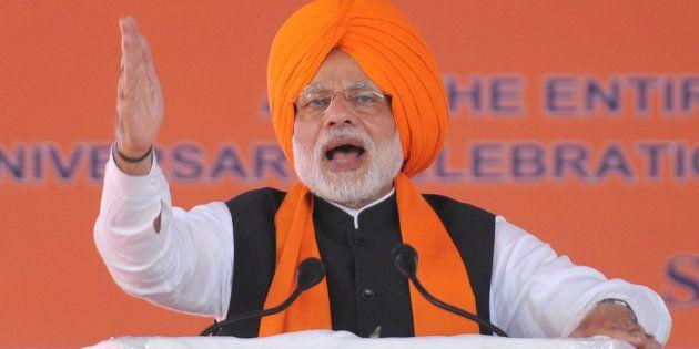 ANANDPUR SAHIB, INDIA - NOVEMBER 25: Prime Minister Narendra Modi during a function to mark 350th Birth...