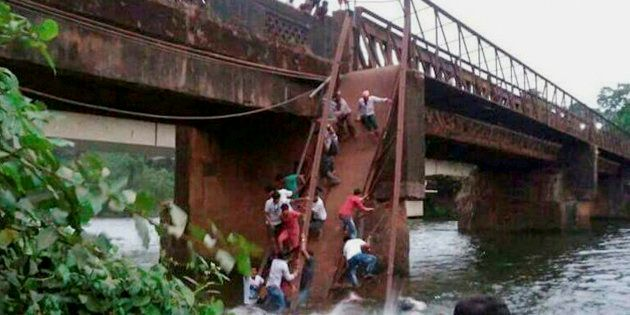 Rescue and relief work in progress after the Sanvordem Bridge collapsed in Curchorem, South Goa on