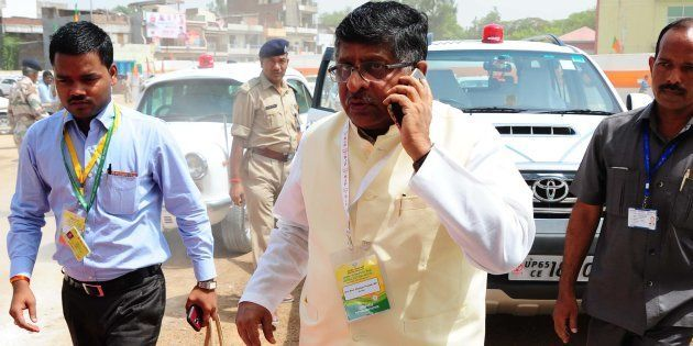 ALLAHABAD, UTTAR PRADESH, INDIA - 2016/06/13: BJP leader Ravishankar Prasad arrive to attend BJP's National...