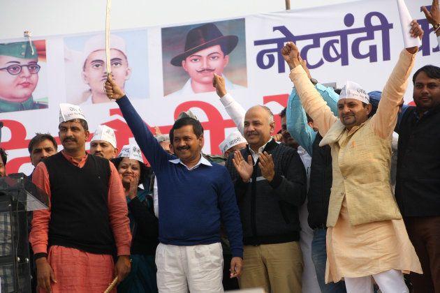Delhi Chief Minister Arvind Kejriwal, Delhi Deputy Chief Minister Manish Sisodia, Tourism Minister Kapil...