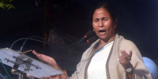 West Bengal Chief Minister Mamata Banerjee during a protest at Jantar Mantar in New