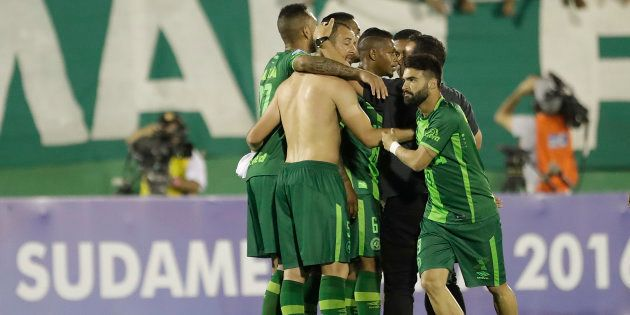 FILE PHOTO of players of Brazil's Chapecoense celebrating at the end of a Copa Sudamericana semifinal...