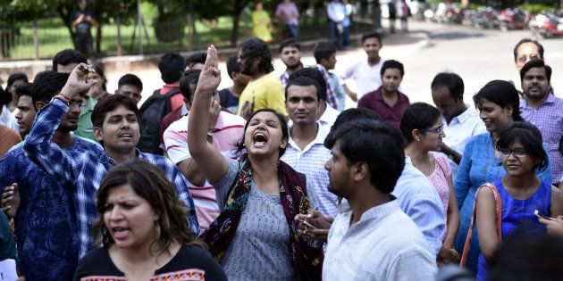 Students during a protest in JNU earlier this