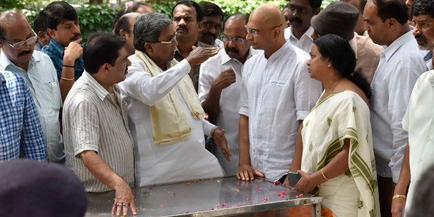 Karnataka chief minister Siddaramaiah speaks to Indrajit brother of the slain journalist Gauri Lankesh...