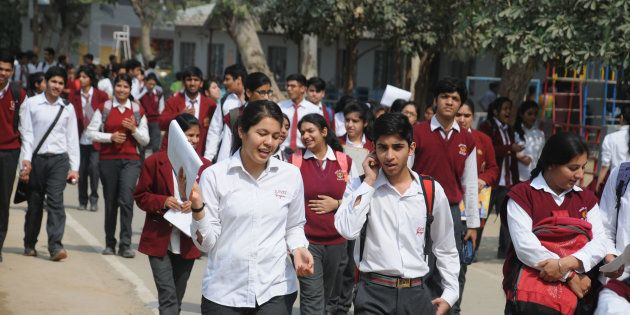 Students coming out after appearing in the first English paper of the class XII CBSE examinations in