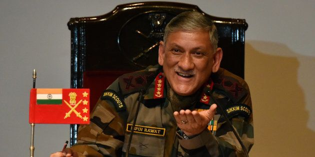 Army Chief General Bipin Rawat during the annual press conference at Manekshawa Centre on January 13,...