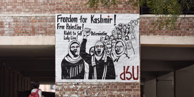 NEW DELHI, INDIA - MARCH 3: A contoversial poster reading Freedom for Kashmir put up on social science...