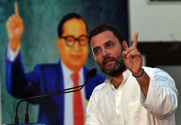 India Congress Party Vice President Rahul Gandhi gestures while delivering his speech during a conclave...