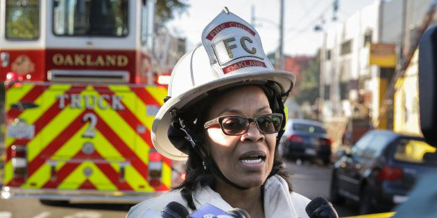 OAKLAND, CA - DECEMBER 03: Oakland Fire Chief Teresa Deloach Reed speaks to the press following an overnight...