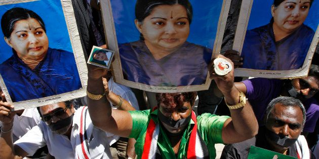 Supporters of J. Jayalalithaa, chief minister of Tamil Nadu and chief of the AIADMK party.